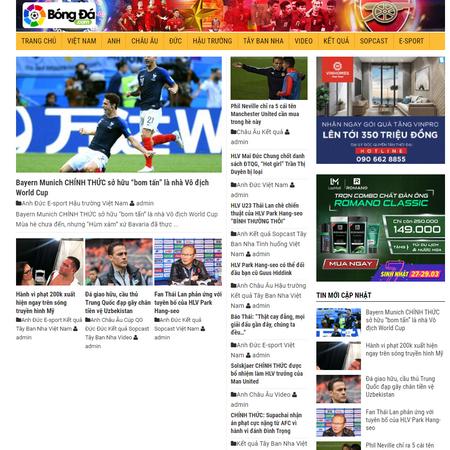 Mẫu website tin thể thao, web tin tức wordpress đã hoàn thiện tin tức